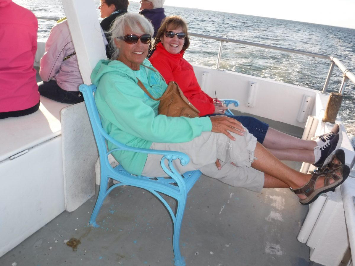 Ladies relaxing on a boat
